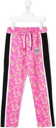 No.21 Kids floral-print logo patch track pants