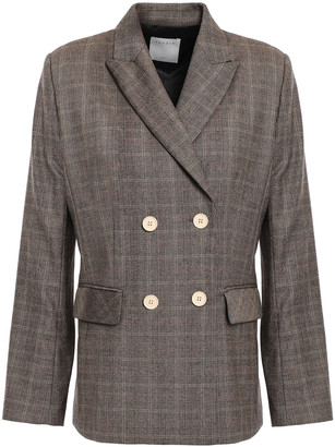 Sandro Hicham Double-breasted Prince Of Wales Checked Wool-blend Blazer