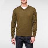 Paul Smith Men's Khaki V-Neck Merino Wool Sweater