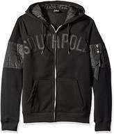 Southpole Men's Long Sleeve Hooded Pullover with Nylon Utility Details and Arm Pocket