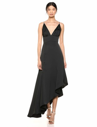 Keepsake Women's Restore Plunging Sleeveless Asymmetrical Long Gown Dress