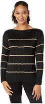 Lauren Ralph Lauren Striped Cable-Knit Sweater (Polo Black/Gold) Women's Clothing