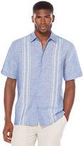 Cubavera Linen Cotton Short Sleeve Dobby Striped Panel Shirt