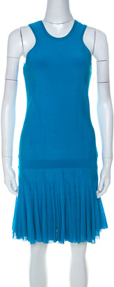 Roberto Cavalli Bright Blue Knit Sleeveless Ruffle Hem Detail Short Dress M