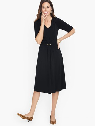 Talbots Jersey Polished Crepe Fit & Flare Dress