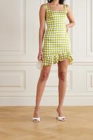 Thumbnail for your product : De La Vali Christabel Ruffled Polka-dot Recycled Twill Mini Dress - Green