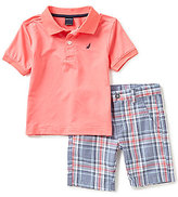 Nautica Little Boys 2T-7 Polo Shirt & Plaid Shorts Set