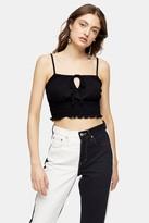 Topshop Womens Black Shirred Waist Cami - Black