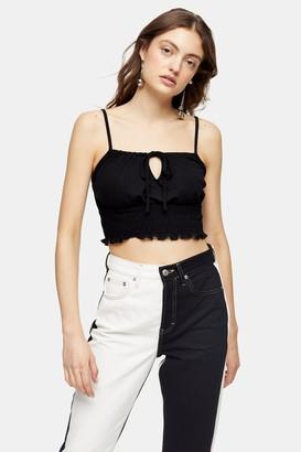 Topshop Black Shirred Waist Cami