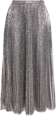 MSGM Pleated Sequined Tulle Midi Skirt