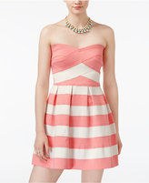 B. Darlin Juniors' Striped Strapless Fit & Flare Dress