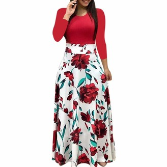 Younthone Women's Casual Dress Long Sleeve Boho Dress Elegant Ladies Party Pencil Skirt A Line Temperament Long Maxi Dress Party Gift Wedding Bridesmaid Dress Red