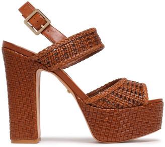 Schutz Woven Leather Platform Sandals