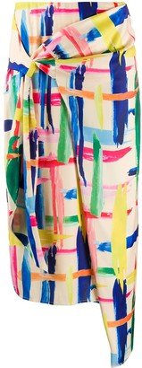 Essentiel Antwerp Abstract Print Wrap Skirt