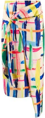 Essentiel Antwerp Abstract Print Wrap Skirt