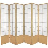 Oriental Furniture Double Size Extra Wide Folding Partition, 6-Feet Zen Japanese Shoji Privacy Screen Room Divider