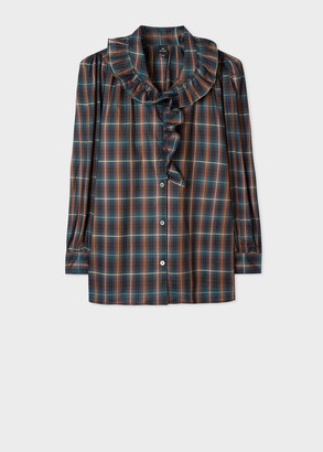 Paul Smith Women's Check Cotton Ruffle Long-Sleeve Top