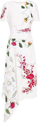 Oscar de la Renta Draped Embroidered Wool-blend Crepe Midi Dress