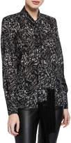 Michael Kors Fringe-Tie Button-Down Silk Blouse