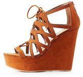 Charlotte Russe Bamboo Caged Lace-Up Wedge Sandals