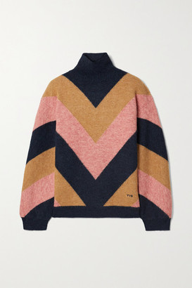Victoria Victoria Beckham Oversized Color-block Jacquard-knit Turtleneck Sweater - Mustard