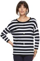 Elle Women's ELLETM Striped Paillette Crewneck Sweater