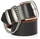 Chain detail real leather belt