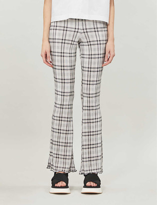 Topshop Checked flared high-rise woven trousers