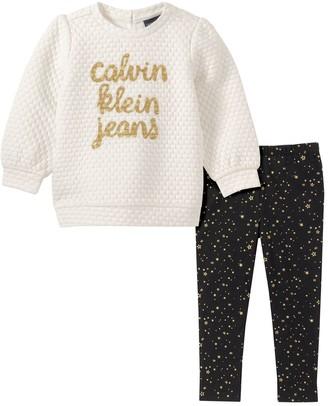 Calvin Klein Little Girl's 2-Piece Sweatshirt & Leggings Set
