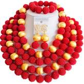laanc African Nigerian Beads Women's 12 Rows Gold Plated Imitation Pearls Wedding Jewelry Sets