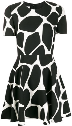 Valentino Giraffe Print Flared Mini Dress