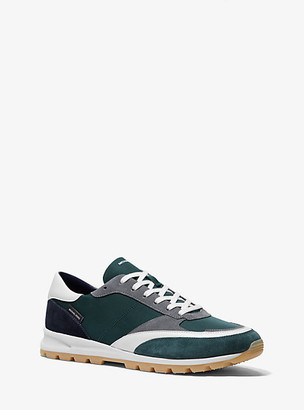 Michael Kors Liam Nylon Gabardine and Suede Sneaker - Spruce