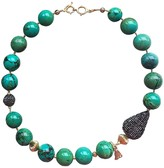 Farra Nugget Turquoise With Teardrop Rhinestone Necklace