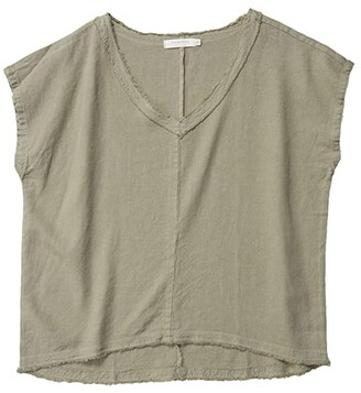 Mod-o-doc Linen Rayon Dolman Sleeve V-Neck Top (Cactus) Women's Clothing