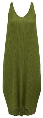 Pleats Please Issey Miyake Scoop Neck Pleated Dress - Womens - Khaki