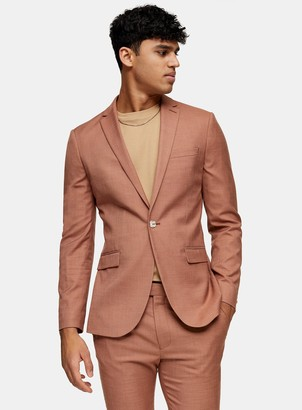 Topman Brown Single Breasted Skinny Fit Suit Blazer With Notch Lapels