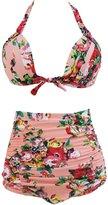 Cfanny Women's Vintage Print 2 pc High Waist Bikini Plus Size Swimsuit