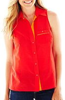 JCPenney jcpTM Sleeveless Button-Front Shirt