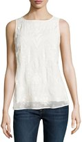 French Connection Embroidered Scoop-Neck Top, Summer White