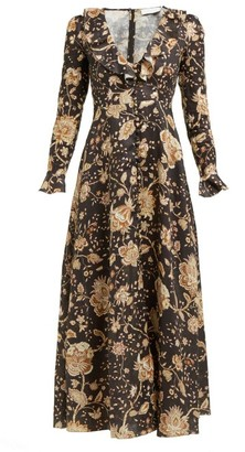 Zimmermann Veneto Floral-print Linen Dress - Womens - Brown