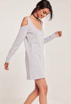 Missguided Grey Cold Shoulder Raw Hem Sweater Dress
