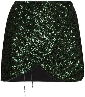 Oseree Sequin-Embroidered Mini Skirt