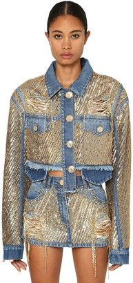 Balmain Sequined Cotton Denim Jacket