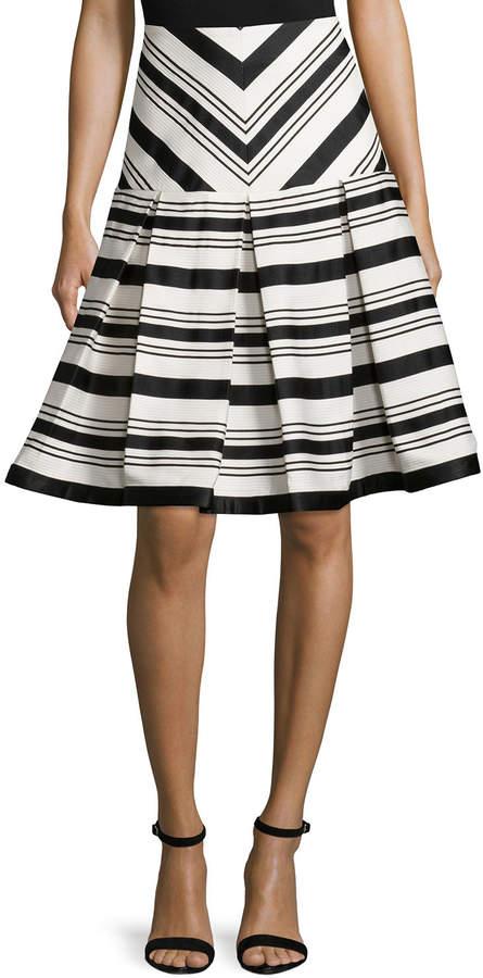 Alexis Emmerson Striped Box-Pleat Skirt, Black/White
