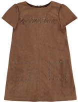 Mayoral Studded Faux-Suede Shift Dress, Chestnut, Size 8-14