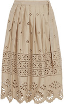 Sea Wrap-effect Broderie Anglaise Cotton Skirt - Beige