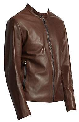 Saks Fifth Avenue Banded Collar Leather Jacket