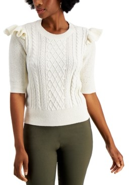 Charter Club Ruffle-Trim Cable-Knit Top, Created for Macy's