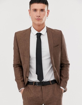 Twisted Tailor super skinny linen suit jacket in brown