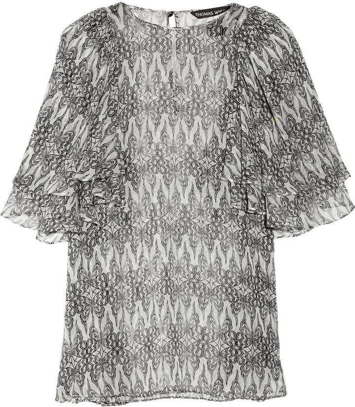 Thomas Wylde Fluttering printed silk-chiffon top